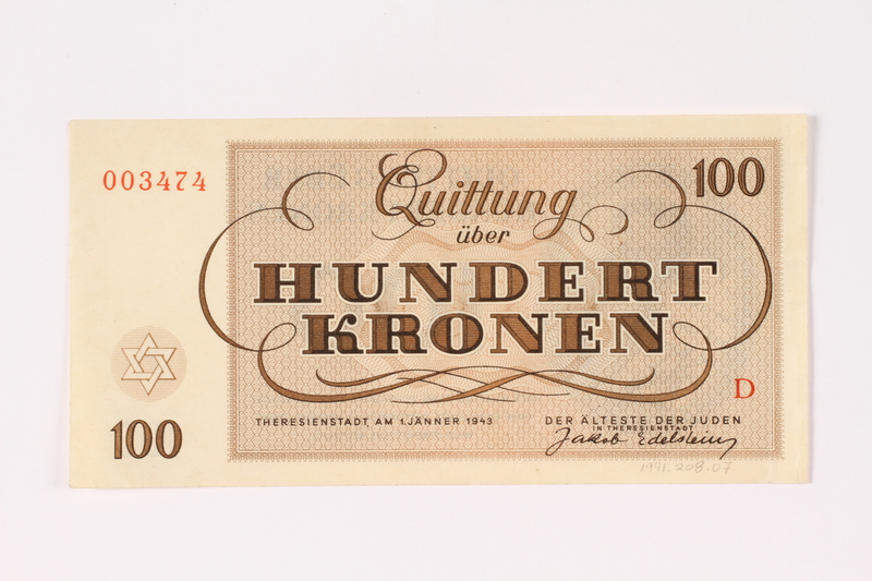 1991.208.7 back Theresienstadt ghetto-labor camp scrip, 100 kronen note