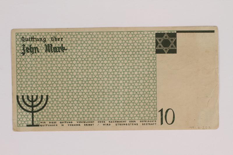 1991.212.2 back Łódź (Litzmannstadt) ghetto scrip, 10 mark note