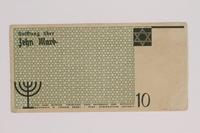 1991.212.2 back Łódź (Litzmannstadt) ghetto scrip, 10 mark note  Click to enlarge