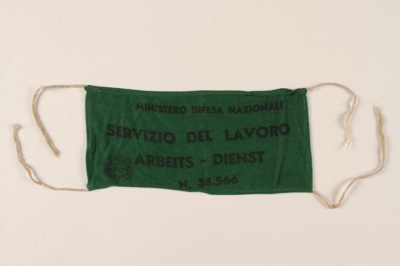 1991.212.3 front Italian Labor Service armband