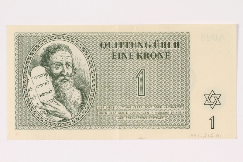 1991.216.1 front Theresienstadt ghetto-labor camp scrip, 1 krone note
