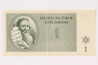 1991.216.1 front Theresienstadt ghetto-labor camp scrip, 1 krone note  Click to enlarge