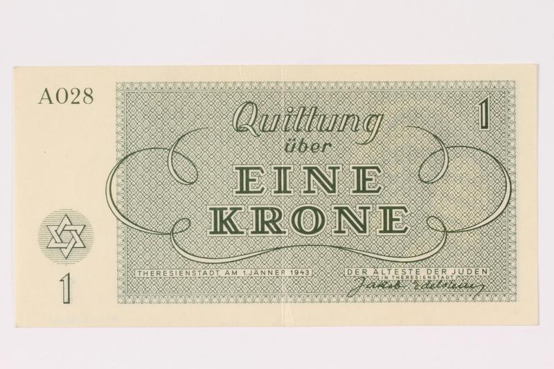 1991.216.1 back Theresienstadt ghetto-labor camp scrip, 1 krone note