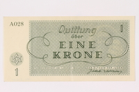 1991.216.1 back Theresienstadt ghetto-labor camp scrip, 1 krone note  Click to enlarge