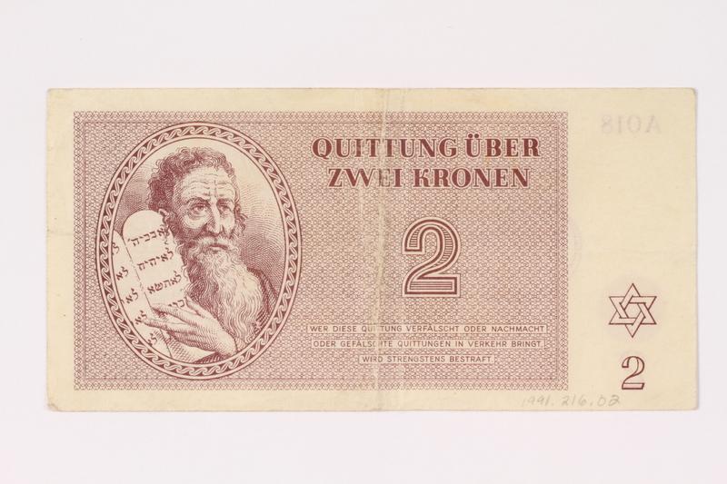 1991.216.2 front Theresienstadt ghetto-labor camp scrip, 2 kronen note