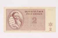 1991.216.2 front Theresienstadt ghetto-labor camp scrip, 2 kronen note  Click to enlarge