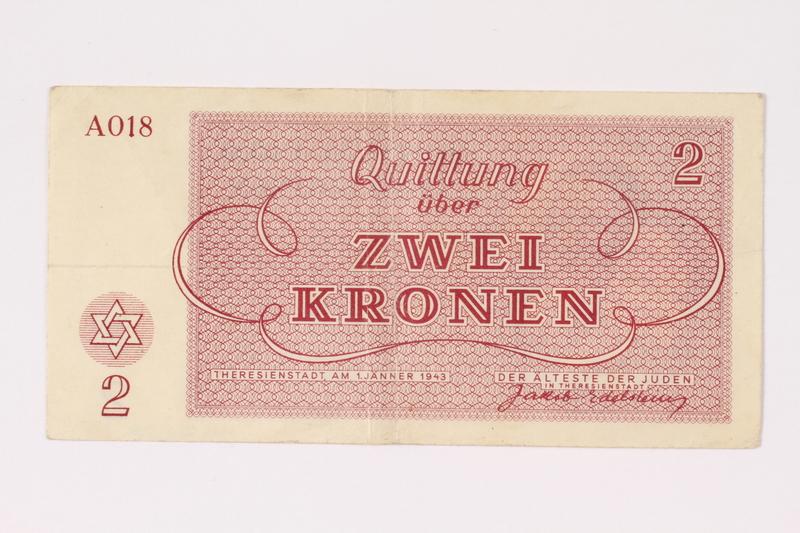1991.216.2 back Theresienstadt ghetto-labor camp scrip, 2 kronen note