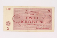 1991.216.2 back Theresienstadt ghetto-labor camp scrip, 2 kronen note  Click to enlarge