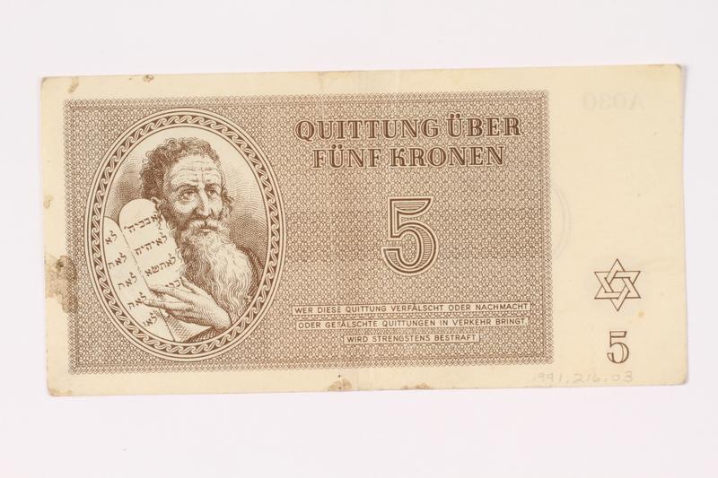 1991.216.3 front Theresienstadt ghetto-labor camp scrip, 5 kronen note