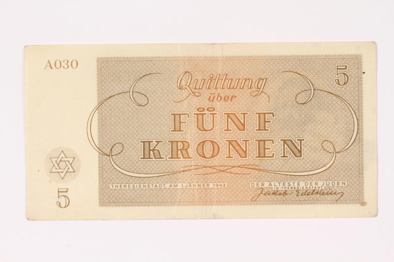 1991.216.3 back Theresienstadt ghetto-labor camp scrip, 5 kronen note