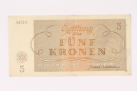 1991.216.3 back Theresienstadt ghetto-labor camp scrip, 5 kronen note  Click to enlarge