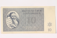 1991.216.4 front Theresienstadt ghetto-labor camp scrip, 10 kronen note  Click to enlarge