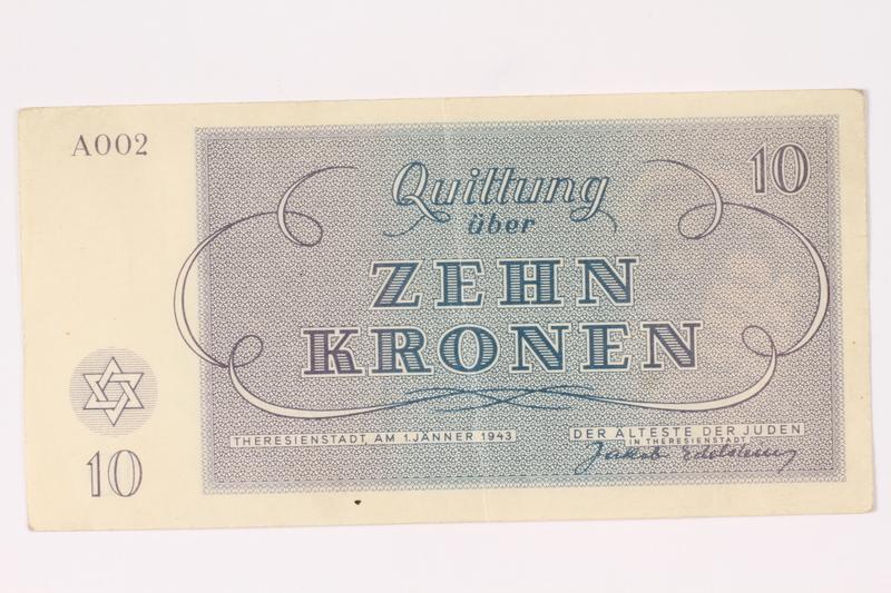 1991.216.4 back Theresienstadt ghetto-labor camp scrip, 10 kronen note