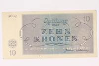 1991.216.4 back Theresienstadt ghetto-labor camp scrip, 10 kronen note  Click to enlarge
