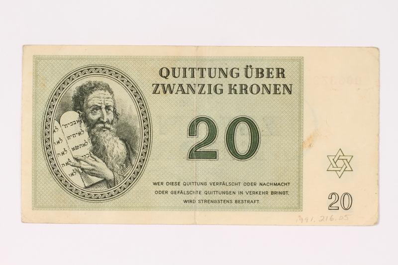 1991.216.5 front Theresienstadt ghetto-labor camp scrip, 20 kronen note