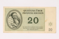 1991.216.5 front Theresienstadt ghetto-labor camp scrip, 20 kronen note  Click to enlarge