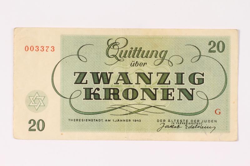 1991.216.5 back Theresienstadt ghetto-labor camp scrip, 20 kronen note
