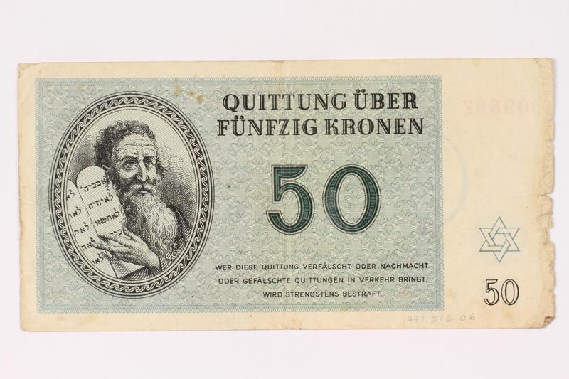1991.216.6 front Theresienstadt ghetto-labor camp scrip, 50 kronen note