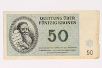 1991.216.6 front Theresienstadt ghetto-labor camp scrip, 50 kronen note  Click to enlarge