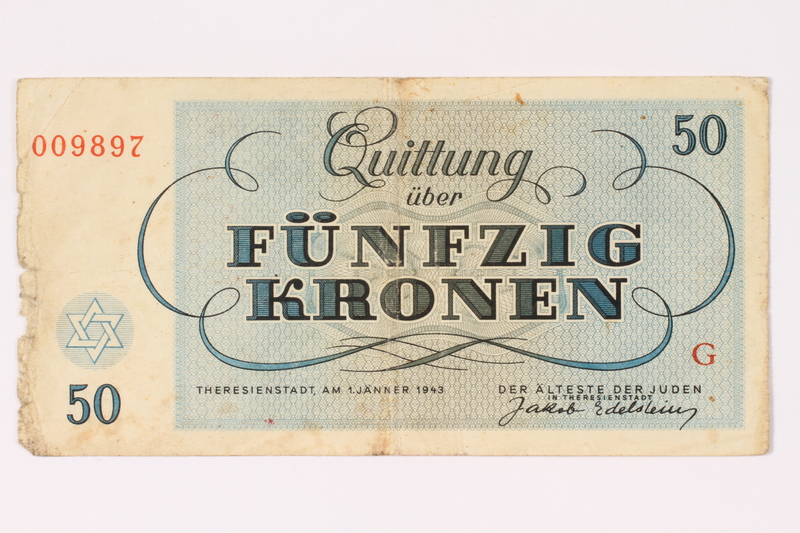1991.216.6 back Theresienstadt ghetto-labor camp scrip, 50 kronen note