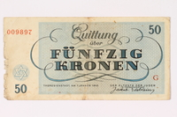 1991.216.6 back Theresienstadt ghetto-labor camp scrip, 50 kronen note  Click to enlarge