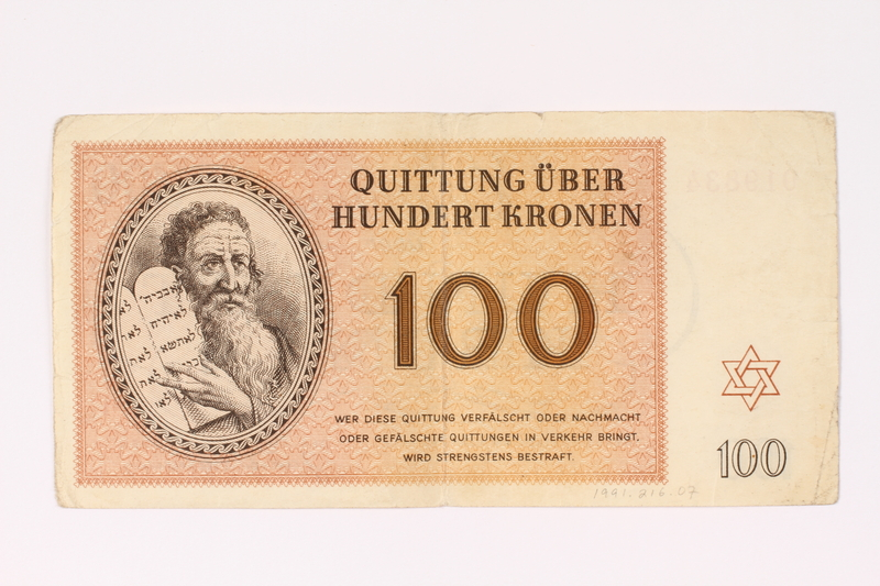 1991.216.7 front Theresienstadt ghetto-labor camp scrip, 100 kronen note