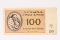 1991.216.7 front Theresienstadt ghetto-labor camp scrip, 100 kronen note  Click to enlarge
