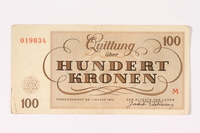 1991.216.7 back Theresienstadt ghetto-labor camp scrip, 100 kronen note  Click to enlarge