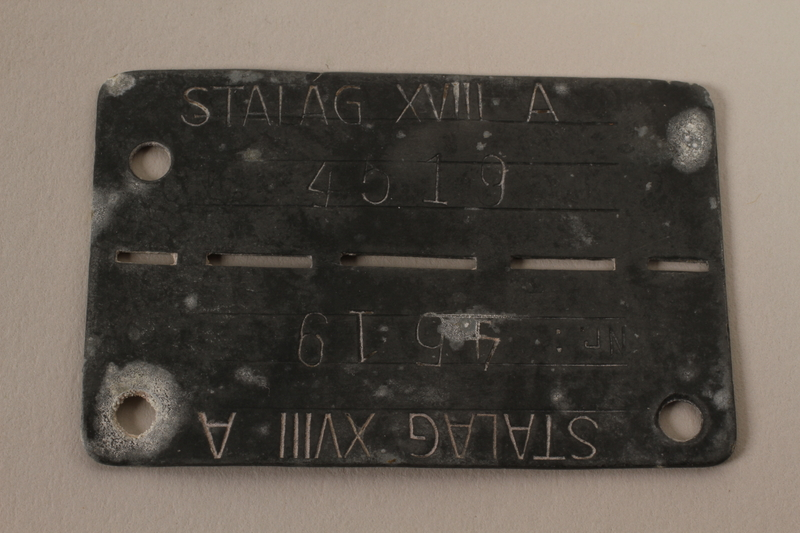 2004.616.2 front Prisoner ID tag issued to a Hungarian Jewish POW in Stalag XVIII A