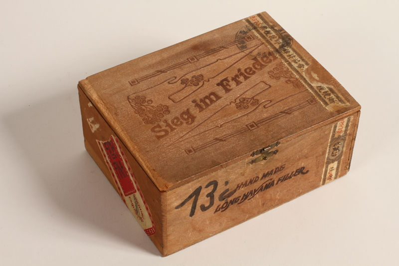 2010.240.2 closed Engraved wooden Havana cigar box acquired by Austrian Jewish refugee
