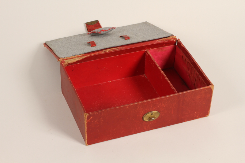 2012.342.2 open Red leather sewing box recovered postwar by a Czech Jewish woman