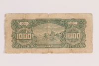 2010.240.24 back Chinese paper currency note, 1000 yuan, acquired postwar by a German Jewish refugee  Click to enlarge