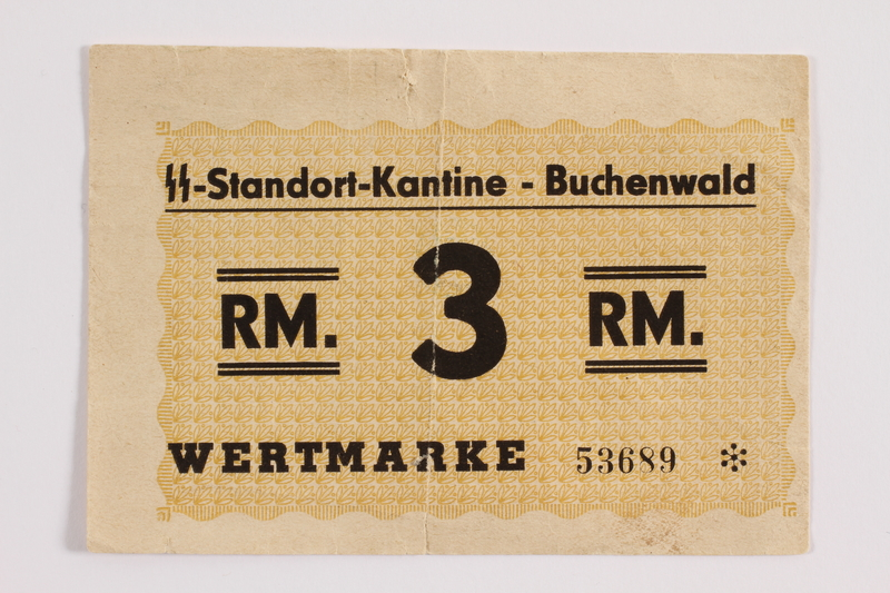 2012.302.3 front Buchenwald Standort-Kantine concentration camp scrip, 3 Reichsmark, with an inscription found by a US soldier