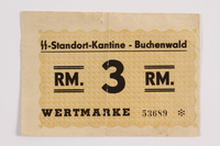 2012.302.3 front Buchenwald Standort-Kantine concentration camp scrip, 3 Reichsmark, with an inscription found by a US soldier  Click to enlarge