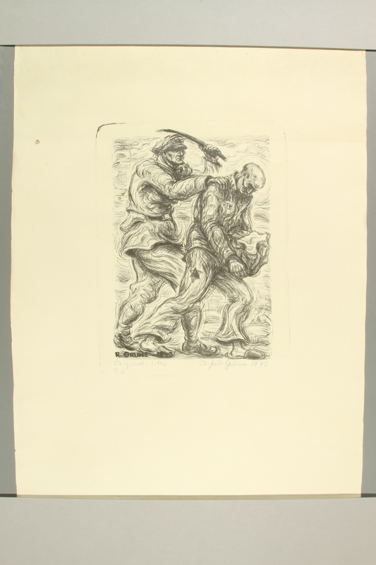 2012.316.1 front Richard Grune lithograph of a concentration camp guard beating a prisoner