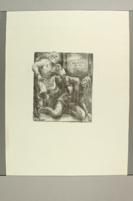 2012.316.2 front Richard Grune lithograph of a concentration camp guard threatening a cowering prisoner