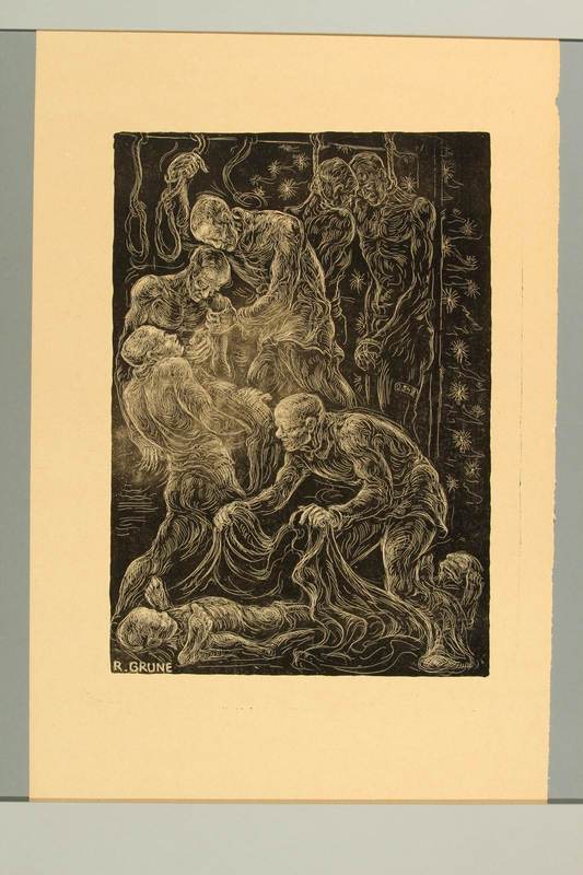 2012.316.3 front Richard Grune lithograph of a group of concentration prisoners gathered around 2 dead comrades