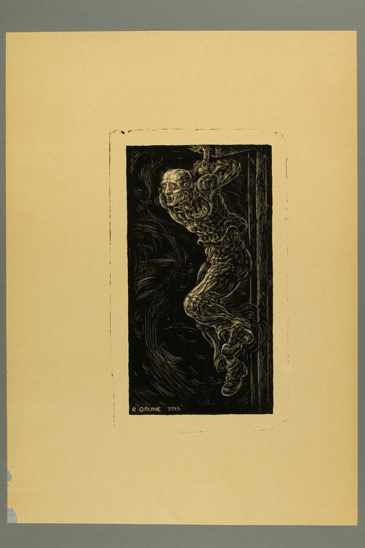 2012.316.5 front Richard Grune lithograph of a chained concentration camp prisoner suspended on a pole