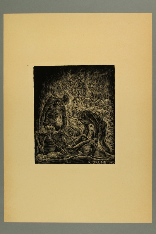 2012.316.6 front Richard Grune lithograph of concentration camp prisoners throwing dead bodies into a fire