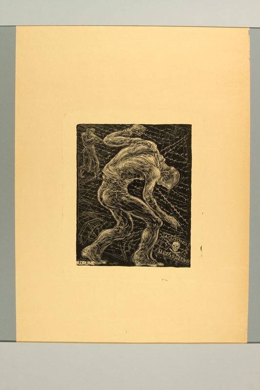 2012.316.7 front Richard Grune lithograph of a concentration camp prisoner crouched near barbed wire