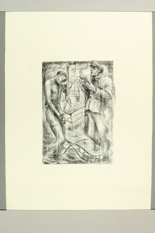 2012.316.9 front Richard Grune lithograph of a concentration camp guard and a prisoner with a noose in the background