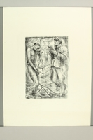 2012.316.9 front Richard Grune lithograph of a concentration camp guard and a prisoner with a noose in the background  Click to enlarge