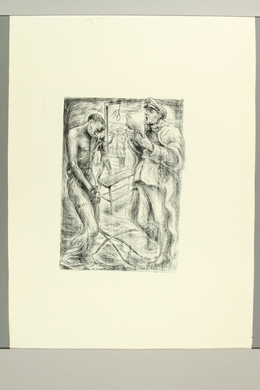 2012.316.10 front Richard Grune lithograph of a torture scene witnessed in a concentration camp