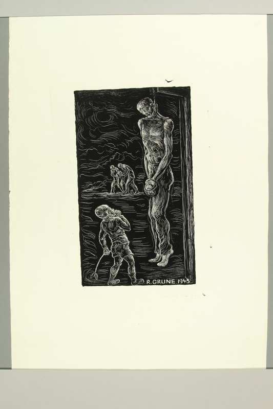 2012.316.11 front Richard Grune lithograph with an image of a child looking at a hanging victim