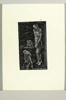 2012.316.11 front Richard Grune lithograph with an image of a child looking at a hanging victim  Click to enlarge