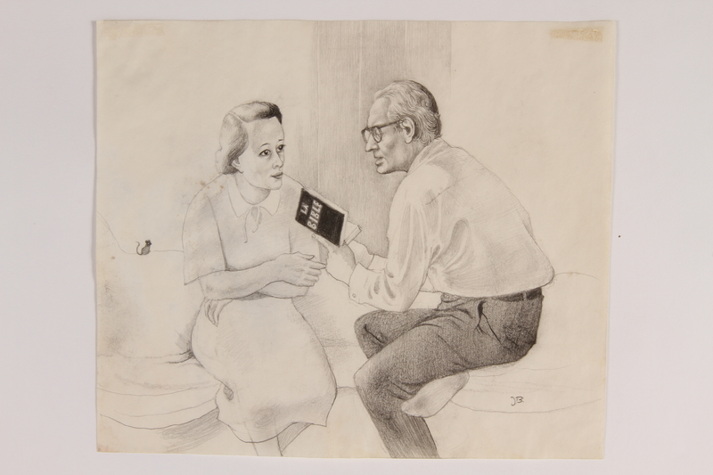 2010.502.94 front Pencil drawing of a couple reading the Bible