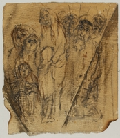CM_2001.122.1_001 front Autobiographical drawing by Halina Olomucki of people waiting in line in the Warsaw ghetto  Click to enlarge