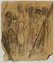 Autobiographical drawing by Halina Olomucki of people waiting in line in the Warsaw ghetto