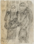Autobiographical drawing by Halina Olomucki of two women in the Warsaw ghetto