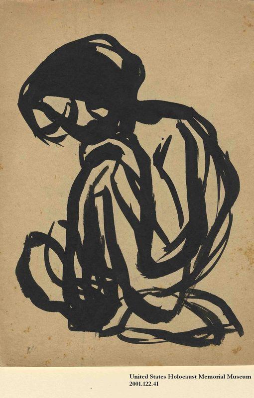 2001.122.41 front Halina Olomicki abstract drawing of a woman